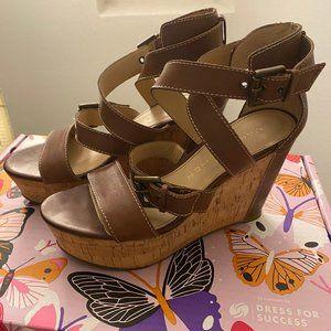 Brown Open Toe Leather Platform Wedge Sandals